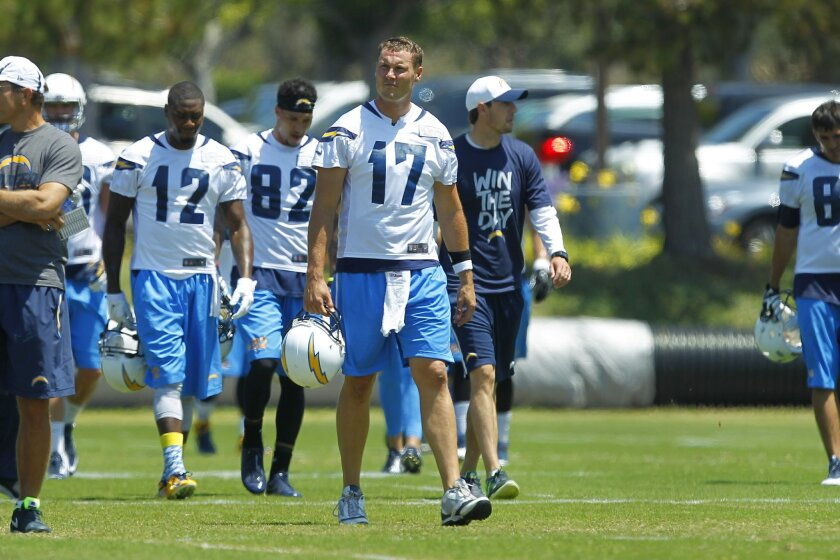 Chargers quarterback Philip Rivers walks to team drills during mini camp.