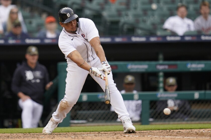 Detroit Tigers' Miguel Cabrera hits a one-run single against the Chicago Cubs in the seventh inning of a baseball game in Detroit, Saturday, May 15, 2021. (AP Photo/Paul Sancya)