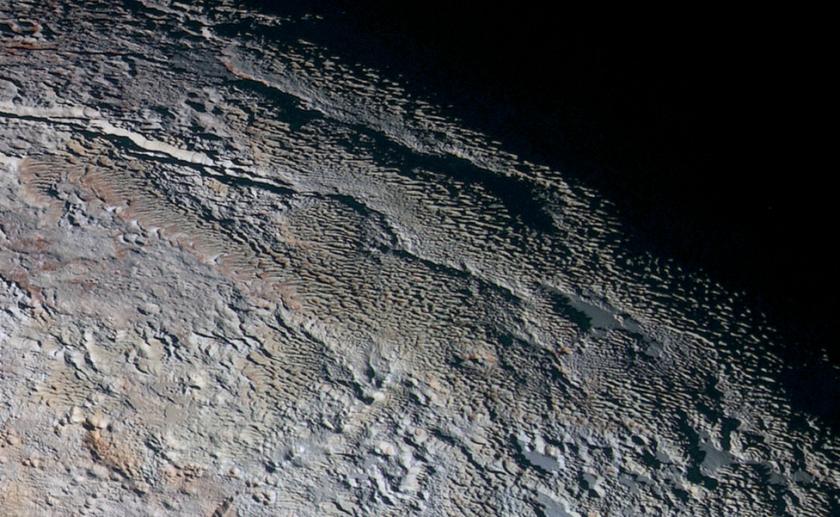 The bladed terrain of Tartarus Dorsa.