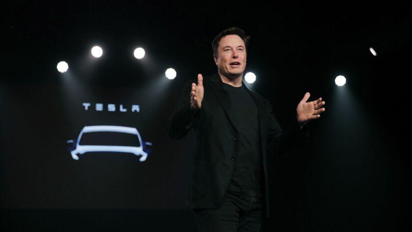 Tesla CEO Elon Musk before unveiling the Model Y at Tesla's design studio in Hawthorne, Calif., earlier this year.
