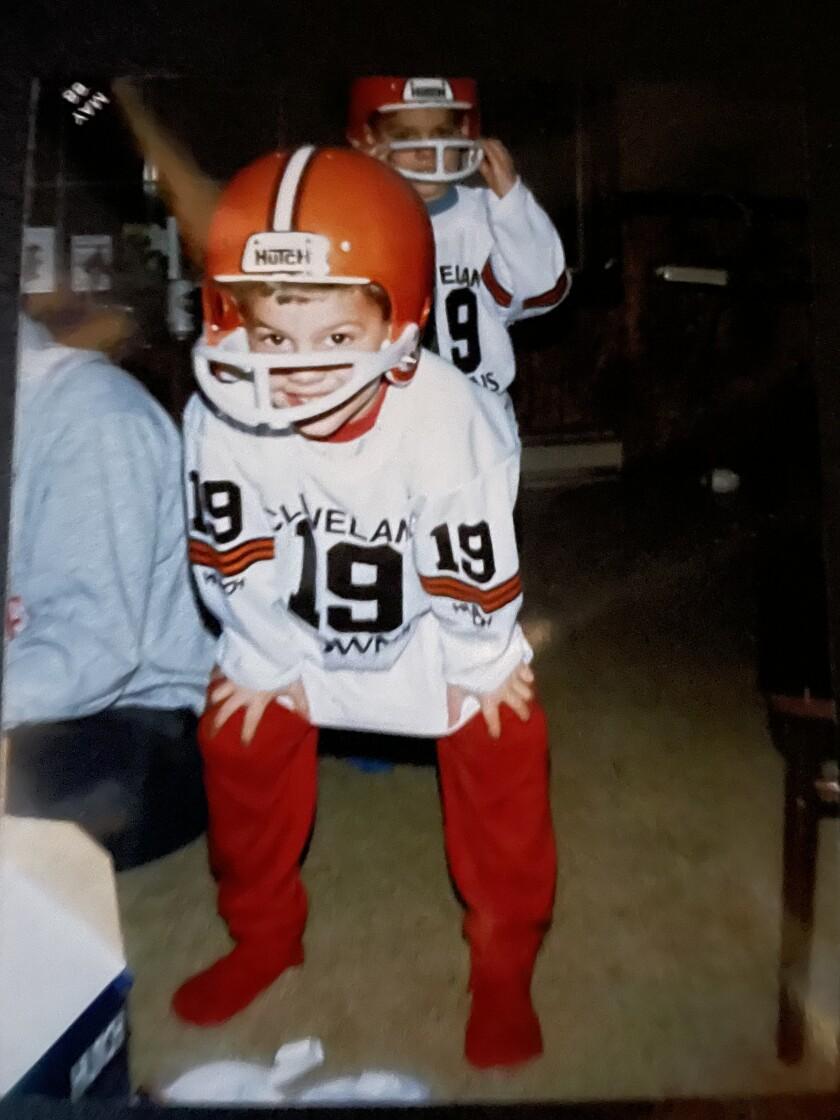Brandon Staley as a kid, dressed in a Cleveland Browns Bernie Kosar uniform.