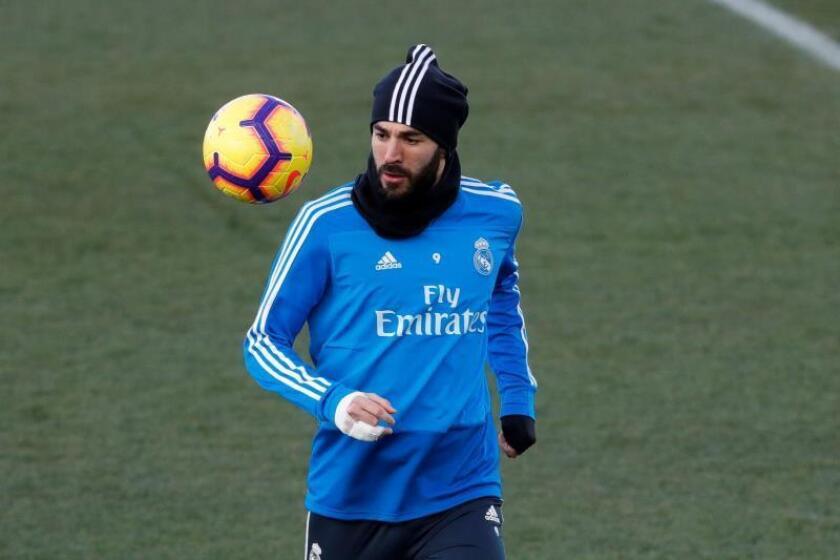 El delantero francés del Real Madrid, Karim Benzema, durante un entrenamiento. EFE/Archivo