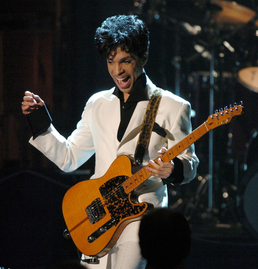Prince performs on March 15, 2004, at the Waldorf Astoria Hotel in New York after being inducted into the Rock and Roll Hall of Fame.
