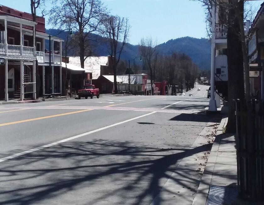 Empty street in Weaverville, California