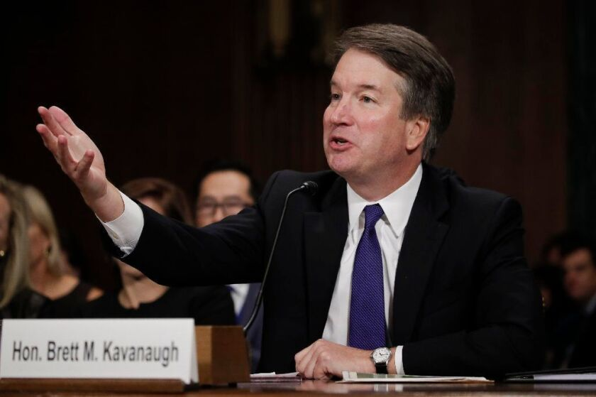 Judge Brett Kavanaugh testifies to the Senate Judiciary Committee during his Supreme Court confirmation hearing in the Dirksen Senate Office Building on Capitol Hill September 27, 2018 in Washington, DC.