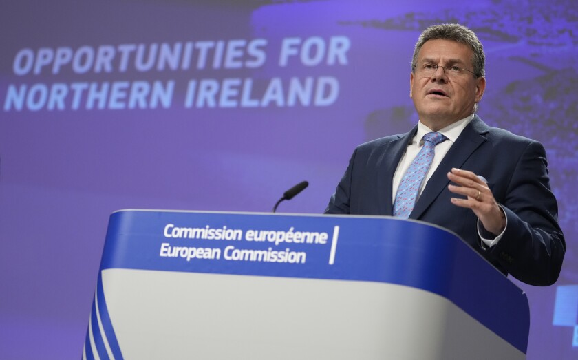 European Commissioner for Inter-institutional Relations and Foresight Maros Sefcovic speaks during a media conference regarding trade and Northern Ireland at EU headquarters in Brussels, Wednesday, Oct. 13, 2021. (AP Photo/Virginia Mayo)