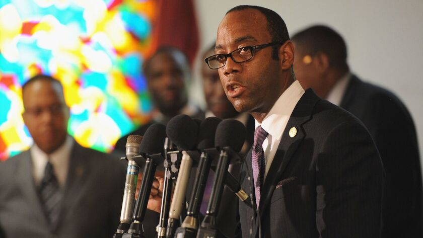 Cornell W. Brooks, president of the National Assn. for the Advancement of Colored People, speaks regarding the shooting death of 18-year-old Michael Brown, on Aug. 11, 2014, in Jennings, Mo.