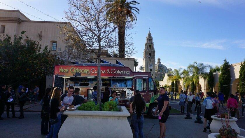 Balboa Park's December Nights celebration  last year includes food trucks in the Plaza de Panama.