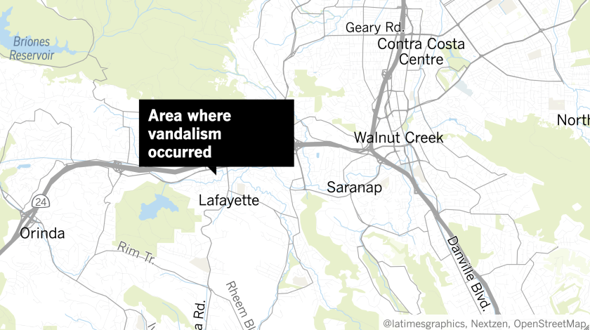 A map shows the area where the vandalism occurred.