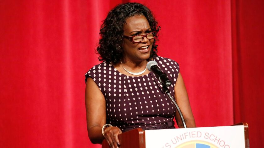 """L.A. Unified Supt. Michelle King, pictured at Garfield High School in August, said Monday that new school planning grants from an outside group would help """"increase the number of high-quality choices"""" for families."""