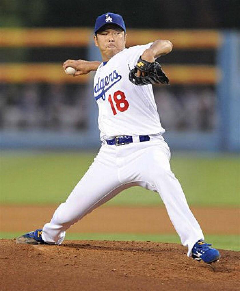 Dodgers starter Hiroki Kuroda gave up just one double to Mark Teixeira in the eighth inning.