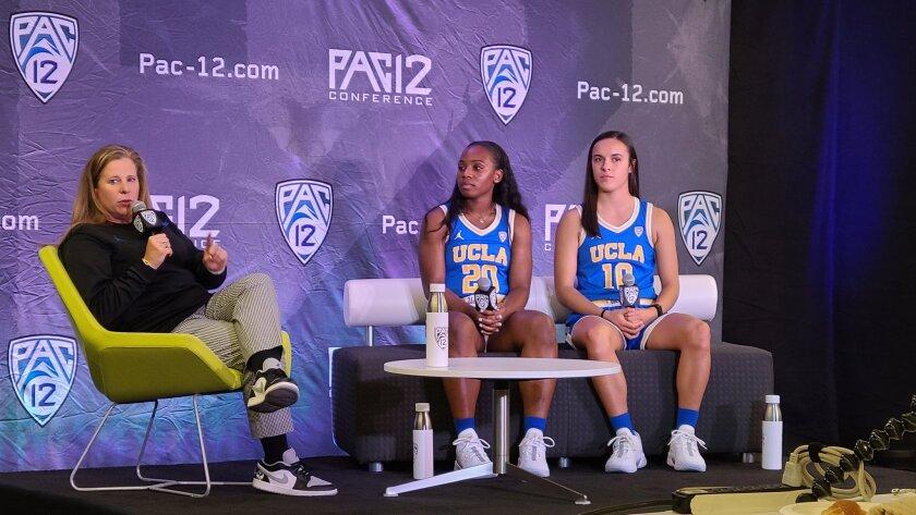 UCLA women's basketball coach Cori Close and players Charisma Osborne and Gina Conti answer questions