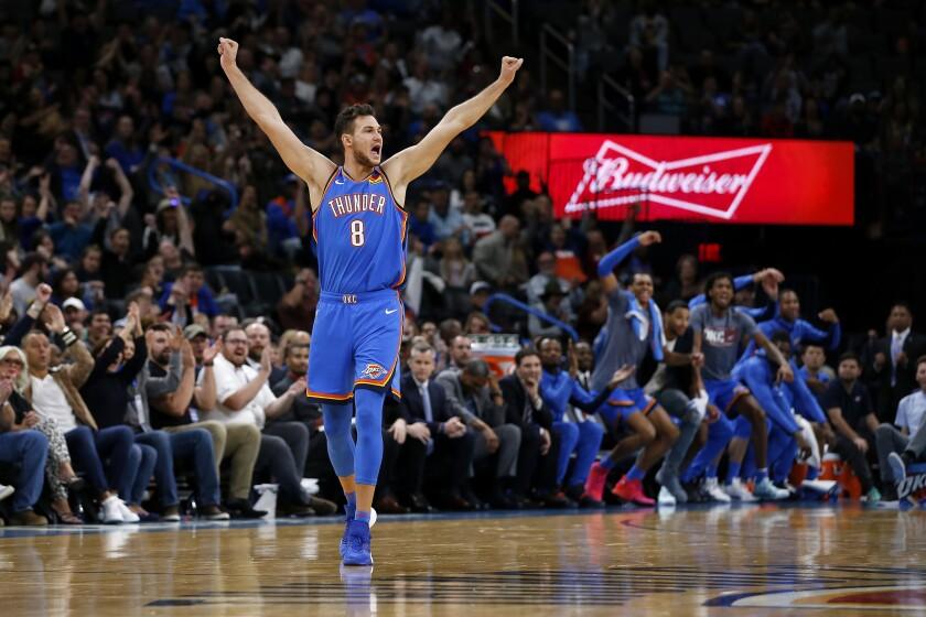 Oklahoma City Thunder's Danilo Gallinari (8) reacts during the second half of an NBA basketball game against the Golden State Warriors in Oklahoma City, Saturday, Nov. 9, 2019. (AP Photo/Garett Fisbeck)