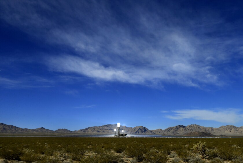 The glowing towers at the Ivanpah Solar Electric Generating System are proof that the plant is online and generating power.