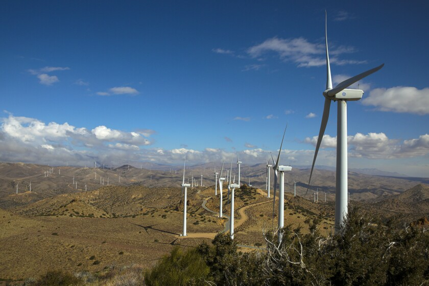 The Los Angeles Department of Water and Power's Pine Tree Wind and Solar Farm in the Tehachapi Mountains of Kern County.