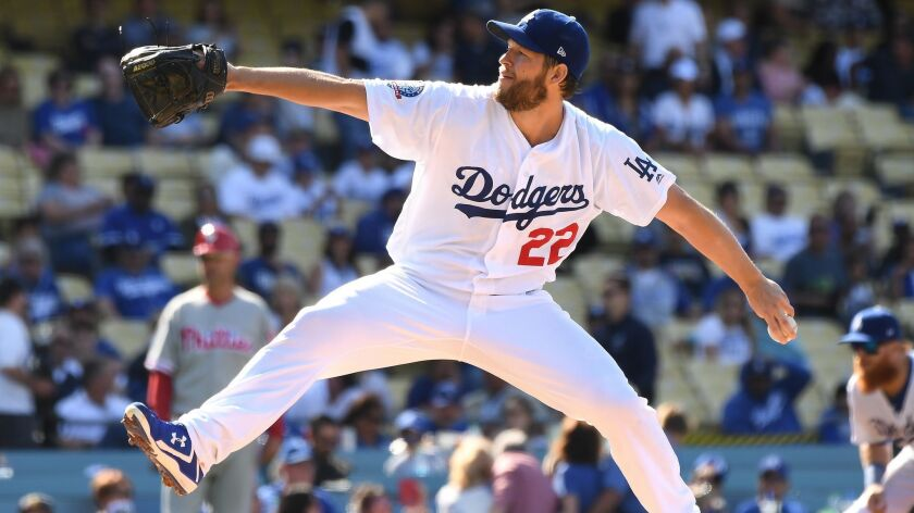 LOS ANGELES, CALIFORNIA MAY 31, 2018-Dodgers pitcher Clayton Kershaw throws a pitch against the Phil