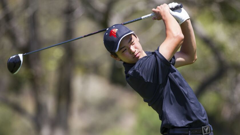 Torrey Pines' James Song hits a drive on the fourth hole.