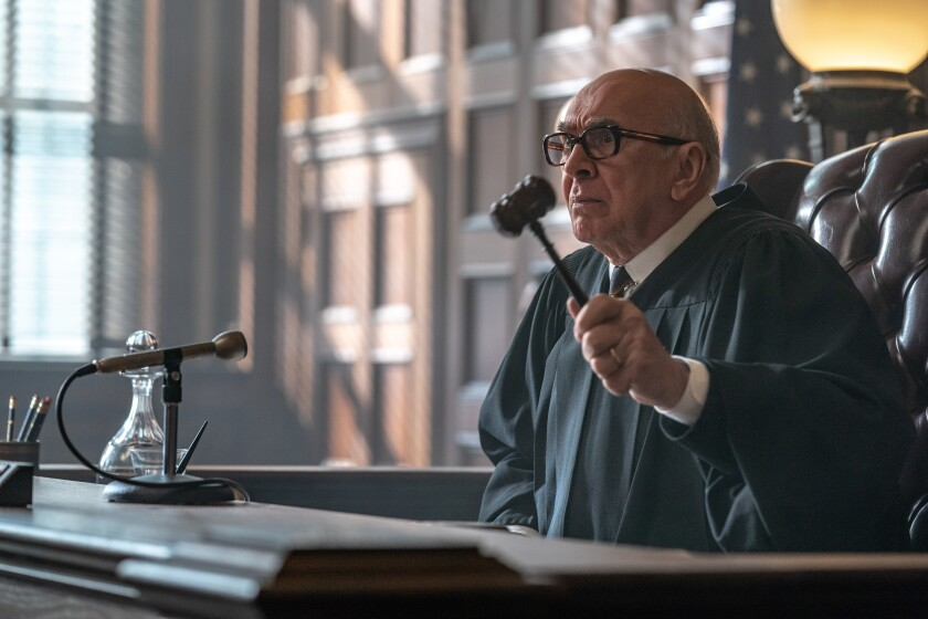 "Frank Langella as Judge Julius Hoffman in ""The Trial of the Chicago 7."""