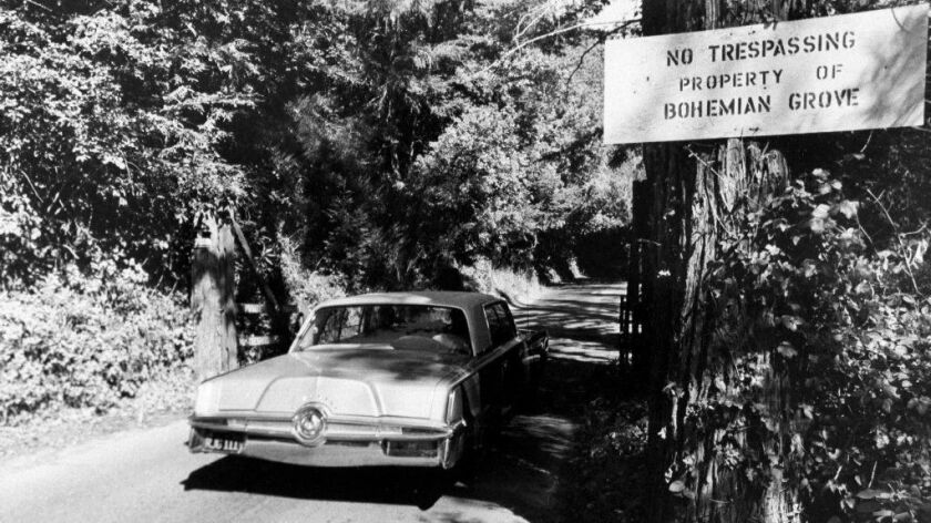 A 1971 file photo shows the roadway into the exclusive Bohemian Grove, a quiet encampment north of San Francisco in Monte Rio, Calif.