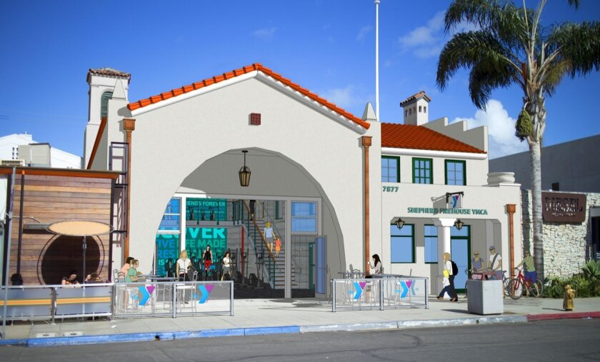 Rendering of Shepherd YMCA Firehouse's new entry at 7877 Herschel Ave. It was actually was a fire station once upon a time in La Jolla.