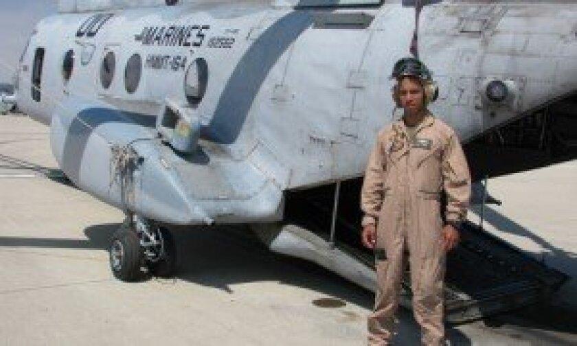 Captain Zerbin Singleton and the CH46 from Vietnam Era. Camp Pendleton, CA. Photo/Jeanne McKinney