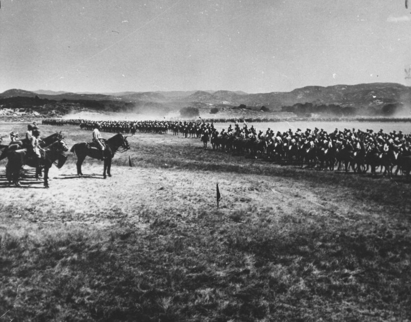 The Buffalo Soldiers' 10th and 28th regiments, some of the more than 3,500 black cavalrymen stationed at Camp Lockett, paraded in 1944. (Mountain Empire Historical Society)
