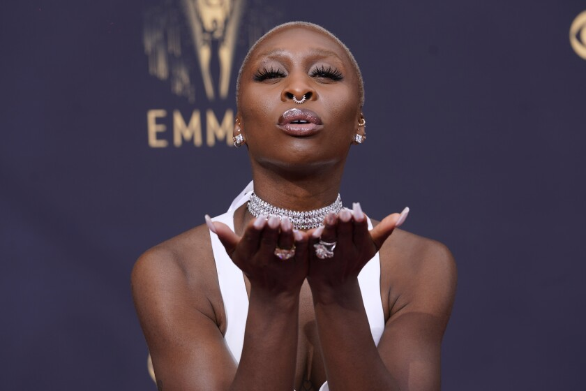 Cynthia Erivo arrives at the 73rd Primetime Emmy Awards on Sunday, Sept. 19, 2021, at L.A. Live in Los Angeles. (AP Photo/Chris Pizzello)