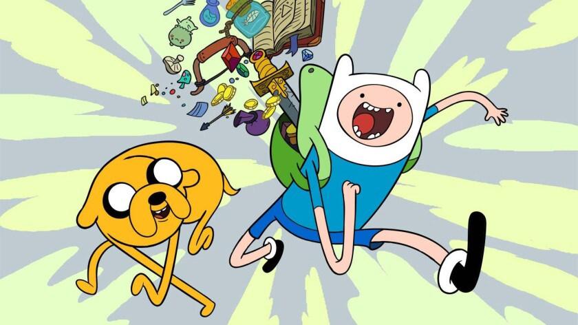 """Jake and Finn of """"Adventure Time (with Finn and Jake)."""""""