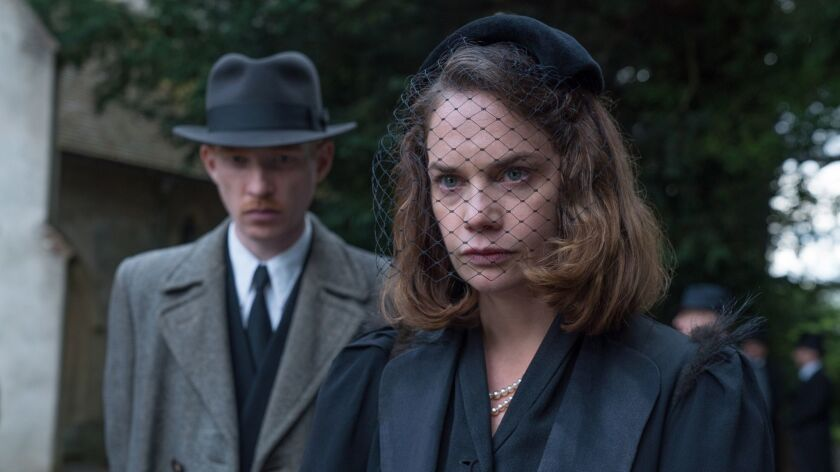 """Domhnall Gleeson (left) stars as """"Dr. Faraday"""" and Ruth Wilson (right) stars as """"Caroline Ayres"""" in"""