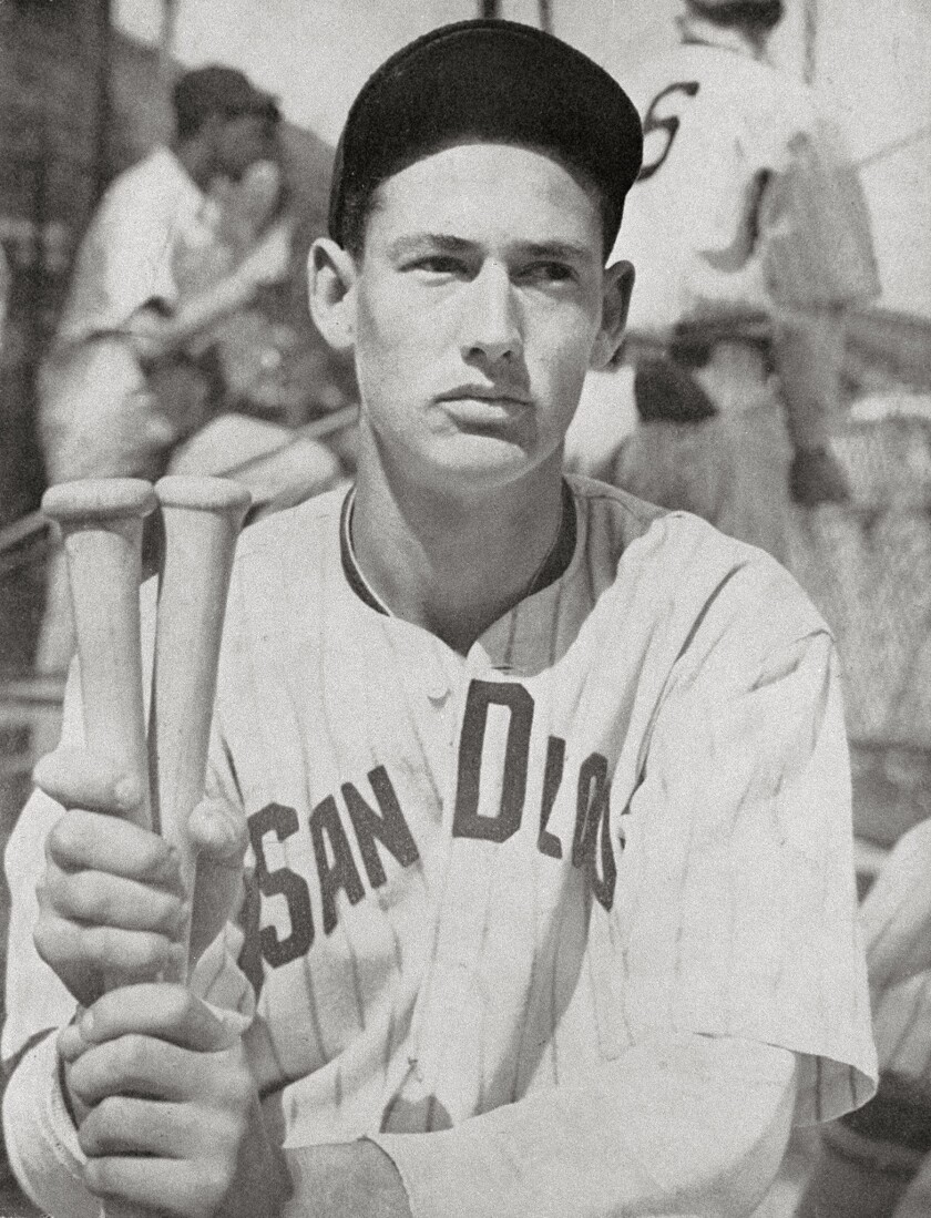 Ted Williams poses as a member of PCL San Diego Padres at Lane Field. Photo copied in 1992 from back of an old program.