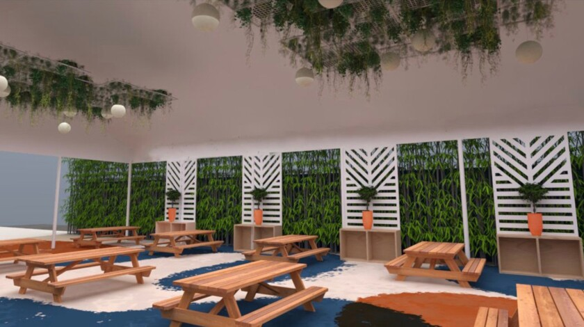 A rendering of the new Post Script restaurant in Venice shows well-spaced picnic tables.