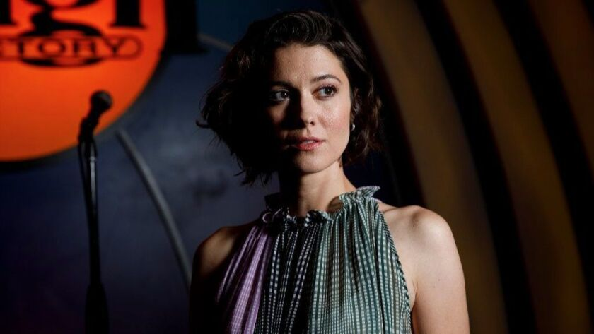 """Actress Mary Elizabeth Winstead, who plays a stand-up comedian in the new indie comedy """"All About Nina,"""" stands for a portrait last week at the Laugh Factory in West Hollywood."""