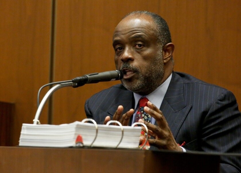 State senator Roderick D. Wright (D-Inglewood) takes the stand in his own defense during his voter fraud and perjury trial early this year.