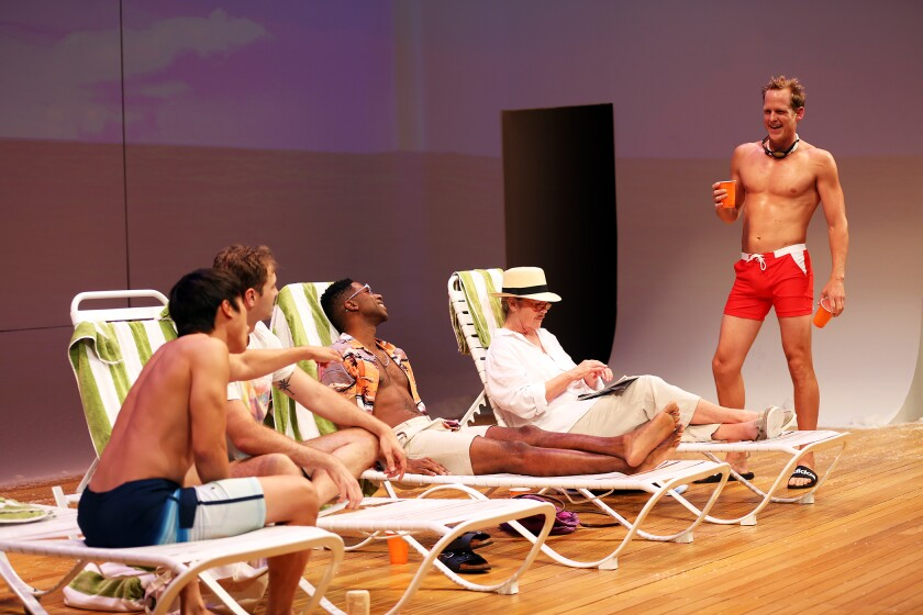 "South Coast Repertory's world premiere of ""The Canadians"" by Adam Bock is directed by Jaime Castañeda and stars, from left, Daniel Chung, Kyle T. Hester, Corey Dorris, Linda Gehringer and Corey Brill."