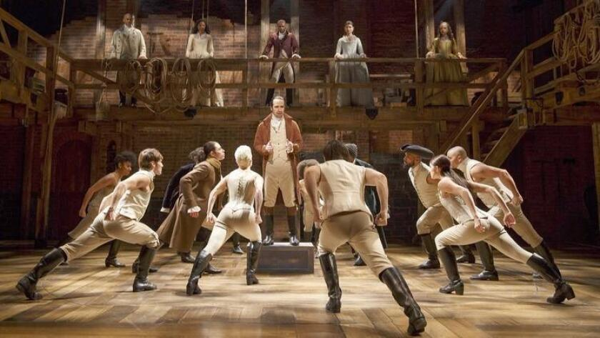 "A scene from the Broadway production of ""Hamilton."" (WP-Bloomberg)"