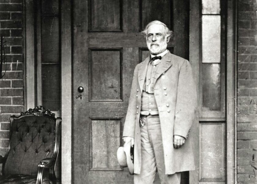 This undated image provided by courtesy of the Library of Congress and PBS shows, Gen. Robert E. Lee, photographed by Mathew Brady on the back porch of his Richmond home, one week after surrendering his army. Assemblywoman Lorena Gonzalez wants his name removed from a San Diego elementary School.