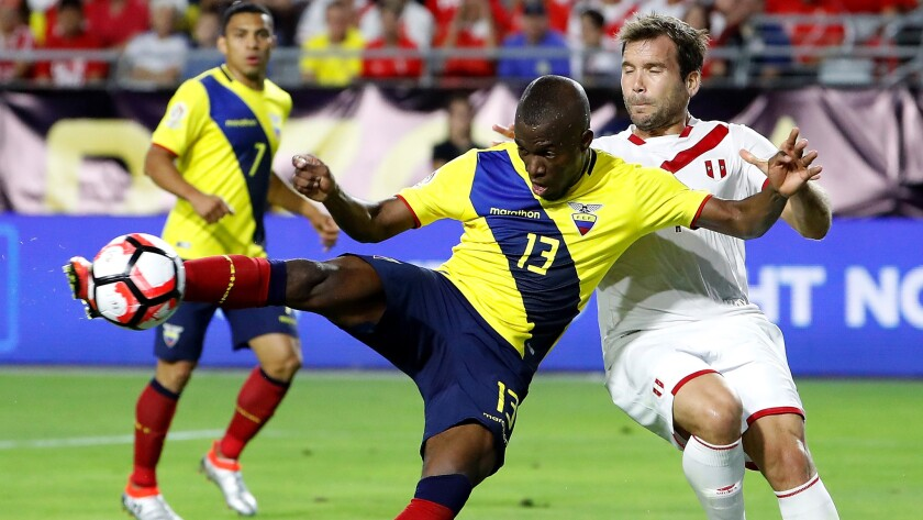 Enner Valencia (13), shown scoring against Peru, and Ecuador will need plenty of goals Sunday against Haiti for a chance to advance at Copa America.