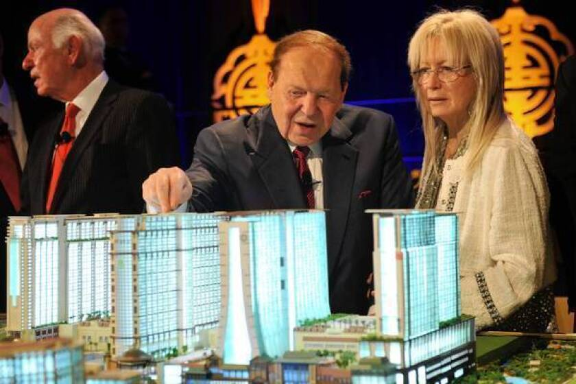"Casino mogul Sheldon Adelson and his wife, Miriam, poured $10 million in June into Restore Our Future, a ""super PAC"" supporting Mitt Romney's presidential campaign."