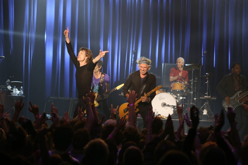 Mick Jagger and the Rolling Stones perform at the Fonda Theatre in Los Angeles, Wednesday, May 20, 2015. The Rolling Stones ripped through the intimate Fonda Theatre Wednesday with enough energy to fuel their entire 15-city North American tour. The band announced Wednesday morning it would perform