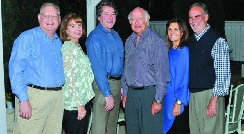 Hosts Jay and Julie Sarno; David Ellenstein; Lionel Goldstein, author of 'Mandate Memories'; Judy and Allen Moffson, North Coast Repertory Theatre president