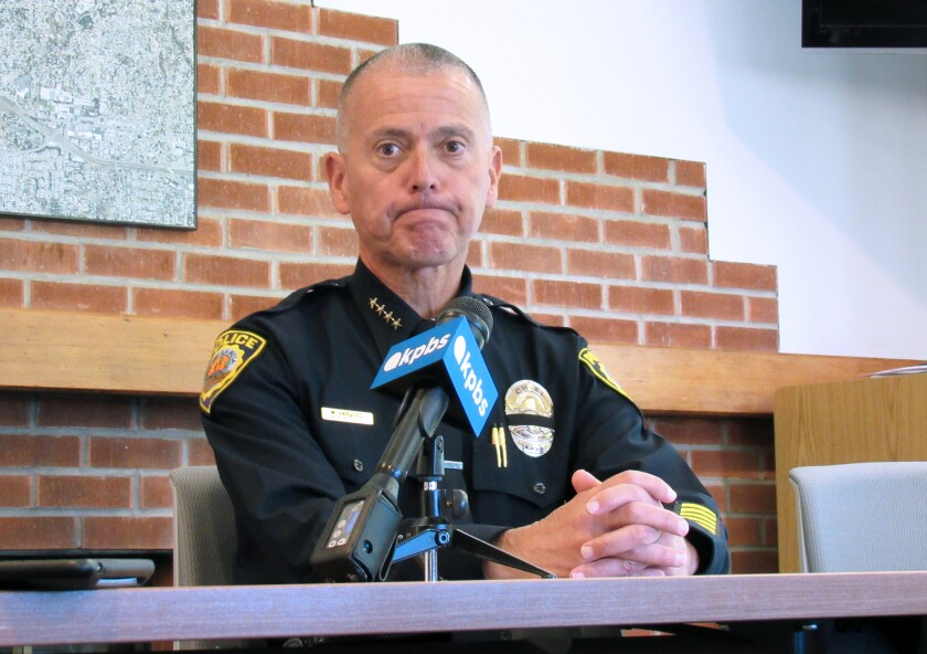 La Mesa Police Chief Walt Vasquez talks to reporters on Tues.