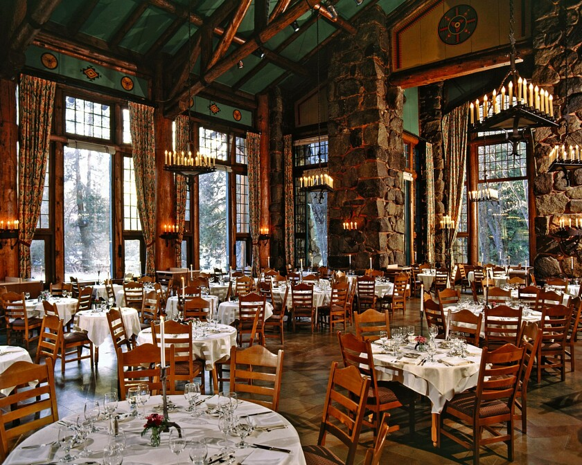 The dining room at the Ahwahnee Hotel where the Vintners' Holidays wine and food events take place each fall.
