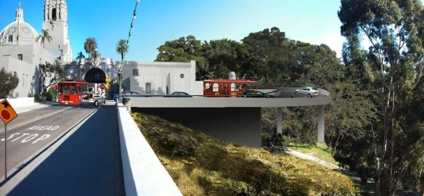 Save Our Heritage Organisation issued this interpretation of what the east end of the Cabrillo Bridge would look like under the traffic plan proposed by Irwin Jacobs