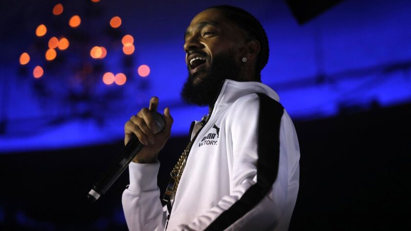 """HOLLYWOOD, CA - FEBRUARY 15, 2018 - Rapper Nipsey Hussle performs raps from his new album, """"Victory"""