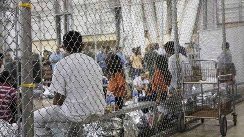 People in custody in McAllen, Texas.
