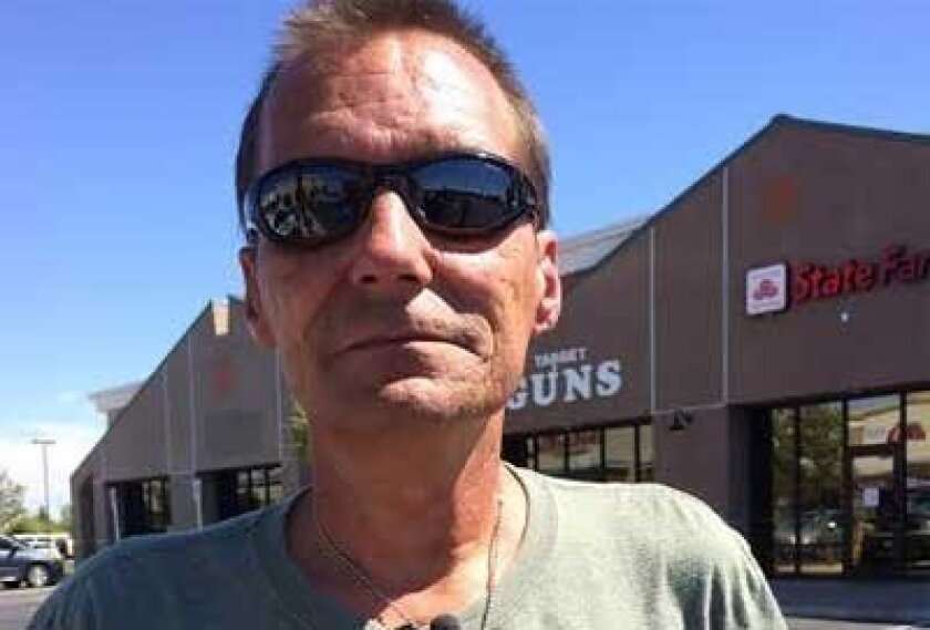 This Aug. 29, 2014 photo provided by KLAS-TV 8 News Now, shows Todd Woodruff in Las Vegas. Woodruff, the father of Amanda Miller, whose June rampage with her husband, Jerad Miller, left two Las Vegas police officers and a good Samaritan dead, visited the restaurant and store where the three were gunned down. Woodruff told KLAS-TV that he realizes his daughter caused a lot of hurt and he will never forget the three victims. (AP Photo/KLAS-TV 8 News Now) LAS VEGAS OUT; MANDATORY CREDIT