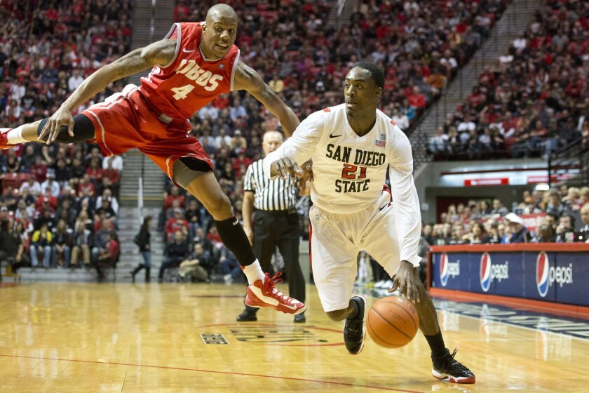 SDSU Aztecs vs. New Mexico Lobos. Aztecs #21 Jamaal Franklin gets past Lobos #4 Chad Adams.  The Aztecs put away the Lobos  55-34