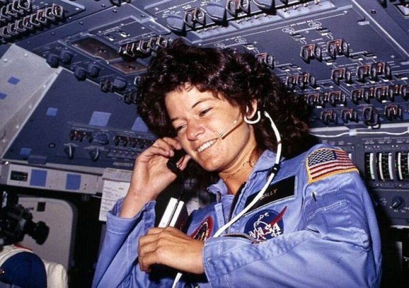 Sally ride in orbit aboard the Space Shuttle Challenger in 1983.