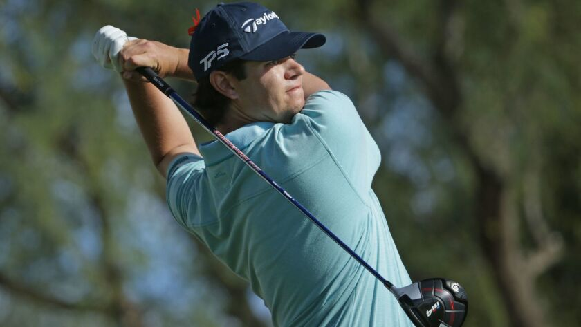 Beau Hossler plays his shot from the ninth tee during the third round of the CareerBuilder Challenge at the TPC Stadium Course at PGA West on January 20, 2018 in La Quinta, California.