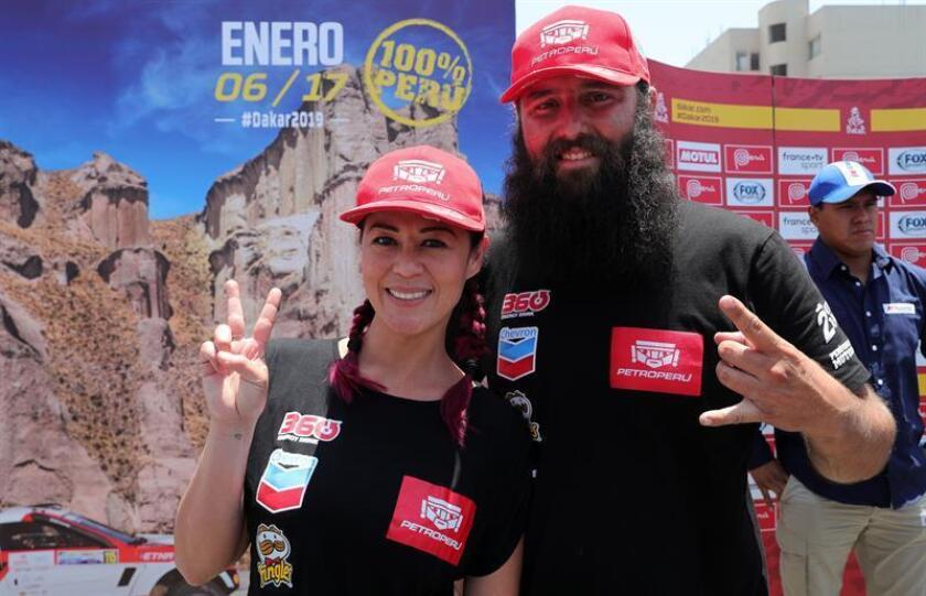 Journalist and pilot Fernanda Kanno and her copilot for the 2019 Dakar Alonso 'Señor Duro' Carrillo at the presentation of the Rally Dakar 2019 on Dec. 4, 2018, in Lima, Peru. EPA- EFE/Ernesto Arias